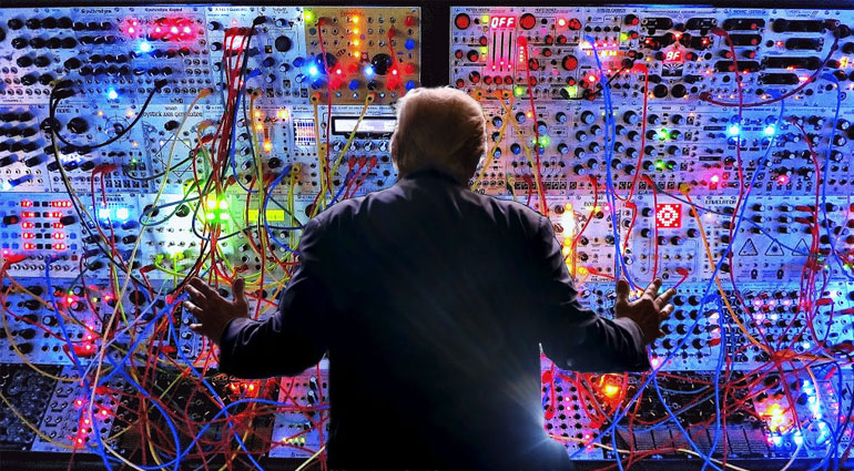 A man playing a modular